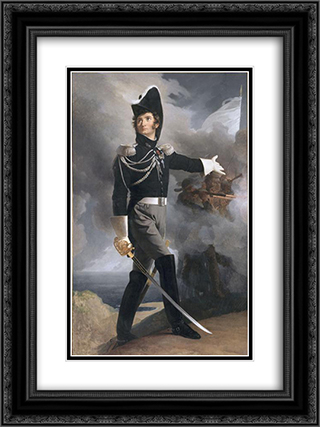 Portrait of Louis du Vergier 18x24 Black or Gold Ornate Framed and Double Matted Art Print by Pierre Narcisse Guerin