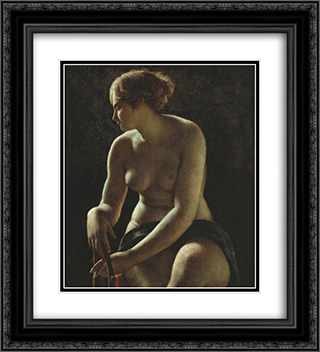Sappho 20x22 Black or Gold Ornate Framed and Double Matted Art Print by Pierre Narcisse Guerin
