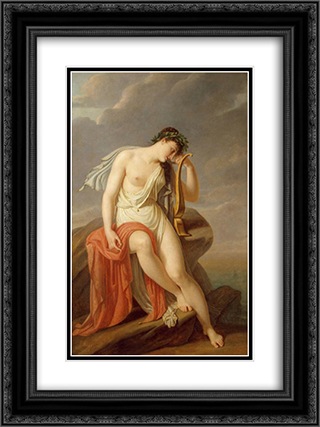 Sappho on the Leucadian Cliff 18x24 Black or Gold Ornate Framed and Double Matted Art Print by Pierre Narcisse Guerin