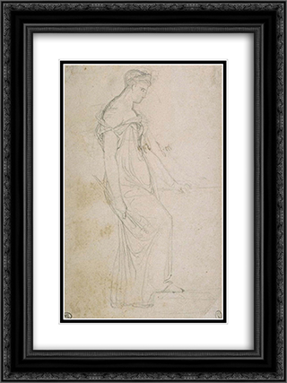 Study the figure of Clytemnestra 18x24 Black or Gold Ornate Framed and Double Matted Art Print by Pierre Narcisse Guerin