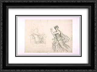 Study the figure of Hermione and sketches of the figure of Pyrrhus 24x18 Black or Gold Ornate Framed and Double Matted Art Print by Pierre Narcisse Guerin