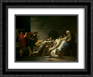 The Death of Cato of Utica 24x20 Black or Gold Ornate Framed and Double Matted Art Print by Pierre Narcisse Guerin