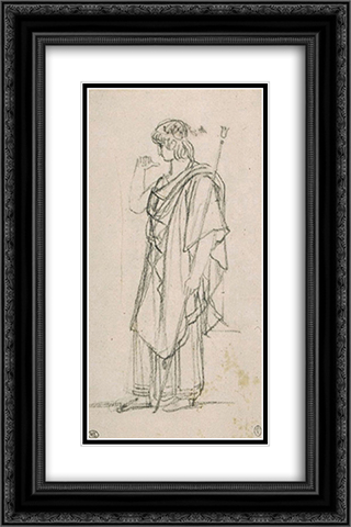 The figure of Orestes, standing draped 16x24 Black or Gold Ornate Framed and Double Matted Art Print by Pierre Narcisse Guerin