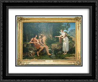 The shepherds in the tomb of Amyntas 24x20 Black or Gold Ornate Framed and Double Matted Art Print by Pierre Narcisse Guerin