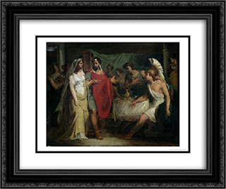 The Wedding of Alexander the Great and Roxana 24x20 Black or Gold Ornate Framed and Double Matted Art Print by Pierre Narcisse Guerin