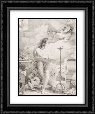 Vigilant One 20x24 Black or Gold Ornate Framed and Double Matted Art Print by Pierre Narcisse Guerin