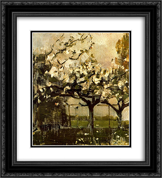 Alberi 20x22 Black or Gold Ornate Framed and Double Matted Art Print by Piet Mondrian