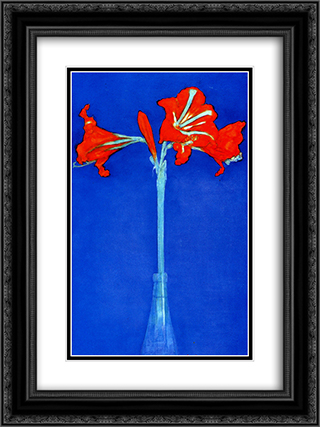 Amaryllis 18x24 Black or Gold Ornate Framed and Double Matted Art Print by Piet Mondrian