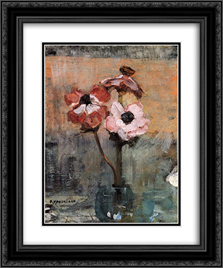 Anemones in a Vase 20x24 Black or Gold Ornate Framed and Double Matted Art Print by Piet Mondrian