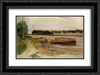 At the Amstel Sun 24x18 Black or Gold Ornate Framed and Double Matted Art Print by Piet Mondrian