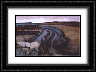 At Work On the Land 24x18 Black or Gold Ornate Framed and Double Matted Art Print by Piet Mondrian