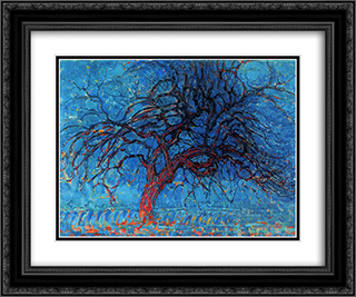 Avond (Evening) The Red Tree 24x20 Black or Gold Ornate Framed and Double Matted Art Print by Piet Mondrian