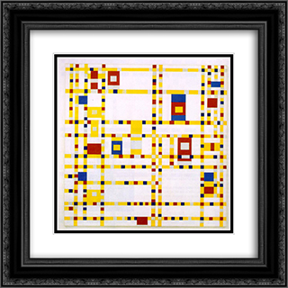 Broadway Boogie Woogie 20x20 Black or Gold Ornate Framed and Double Matted Art Print by Piet Mondrian