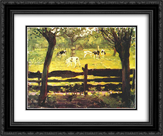 Calves in a Field Bordered by Willow Trees 24x20 Black or Gold Ornate Framed and Double Matted Art Print by Piet Mondrian