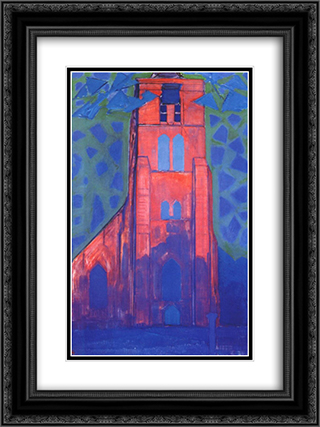 Church tower at Domburg 18x24 Black or Gold Ornate Framed and Double Matted Art Print by Piet Mondrian
