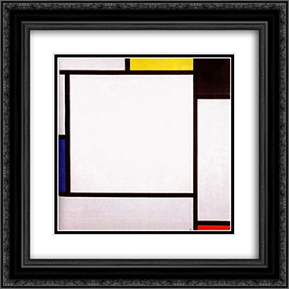 Composition 2 20x20 Black or Gold Ornate Framed and Double Matted Art Print by Piet Mondrian
