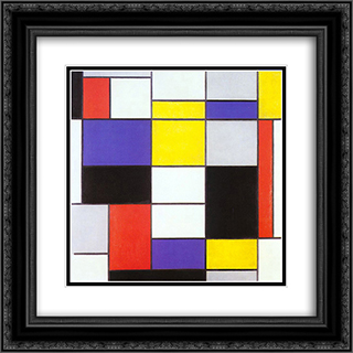 Composition A 20x20 Black or Gold Ornate Framed and Double Matted Art Print by Piet Mondrian