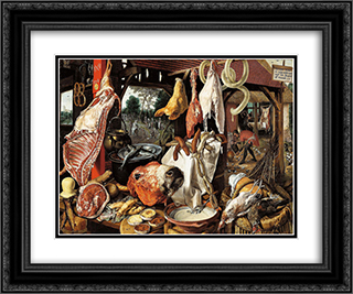 Butcher's Stall with the Flight into Egypt 24x20 Black or Gold Ornate Framed and Double Matted Art Print by Pieter Aertsen