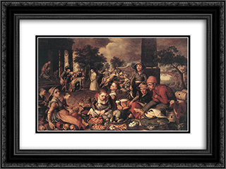 Christ and the Adulteress 24x18 Black or Gold Ornate Framed and Double Matted Art Print by Pieter Aertsen