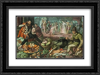 Christ and the Woman Taken in Adultery 24x18 Black or Gold Ornate Framed and Double Matted Art Print by Pieter Aertsen
