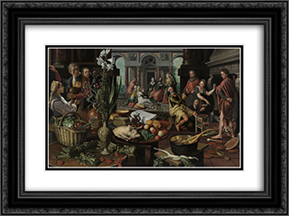 Christ in the House of Martha and Mary 24x18 Black or Gold Ornate Framed and Double Matted Art Print by Pieter Aertsen