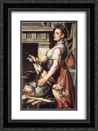 Cook in front of the Stove 18x24 Black or Gold Ornate Framed and Double Matted Art Print by Pieter Aertsen