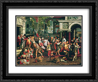 Deeds of Christian Charity 24x20 Black or Gold Ornate Framed and Double Matted Art Print by Pieter Aertsen