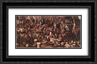 Market Scene 24x16 Black or Gold Ornate Framed and Double Matted Art Print by Pieter Aertsen