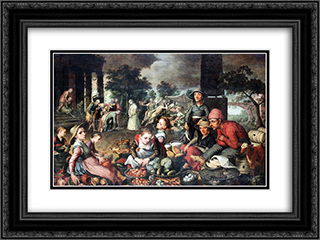 Market with Christ and the Woman Taken in Adultery 24x18 Black or Gold Ornate Framed and Double Matted Art Print by Pieter Aertsen