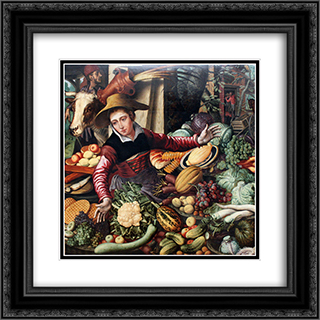 Market woman at a vegetable stand 20x20 Black or Gold Ornate Framed and Double Matted Art Print by Pieter Aertsen