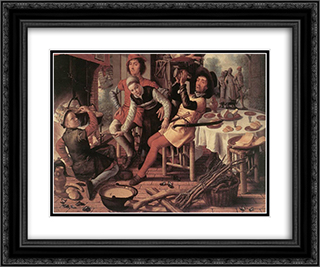 Peasants by the Hearth 24x20 Black or Gold Ornate Framed and Double Matted Art Print by Pieter Aertsen