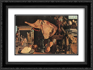 Still-Life 24x18 Black or Gold Ornate Framed and Double Matted Art Print by Pieter Aertsen