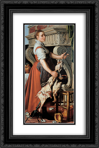 The Cook 16x24 Black or Gold Ornate Framed and Double Matted Art Print by Pieter Aertsen