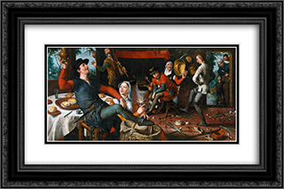 The Egg Dance 24x16 Black or Gold Ornate Framed and Double Matted Art Print by Pieter Aertsen