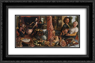 The Fat Kitchen. An Allegory 24x16 Black or Gold Ornate Framed and Double Matted Art Print by Pieter Aertsen