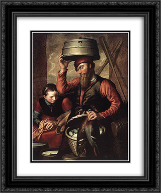 Vendor of Fowl 20x24 Black or Gold Ornate Framed and Double Matted Art Print by Pieter Aertsen