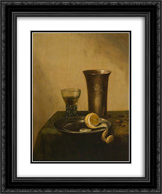 A Silver Beaker, a Roemer and a Peeled Lemon 20x24 Black or Gold Ornate Framed and Double Matted Art Print by Pieter Claesz