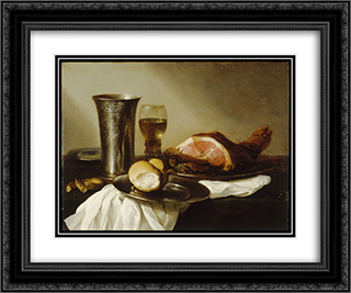 Breakfast Piece 24x20 Black or Gold Ornate Framed and Double Matted Art Print by Pieter Claesz
