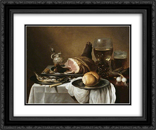 Breakfast Piece 1640 24x20 Black or Gold Ornate Framed and Double Matted Art Print by Pieter Claesz