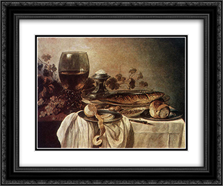 Breakfast Piece 1646 24x20 Black or Gold Ornate Framed and Double Matted Art Print by Pieter Claesz