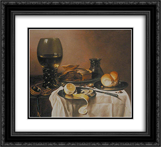 Breakfast Still Life with Roemer, Meat Pie, Lemon and Bread 22x20 Black or Gold Ornate Framed and Double Matted Art Print by Pieter Claesz