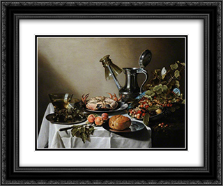Still Life. Food, Glasses and a Jug on a Table 24x20 Black or Gold Ornate Framed and Double Matted Art Print by Pieter Claesz