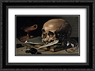 Still Life. Skull and Writing Quill 24x18 Black or Gold Ornate Framed and Double Matted Art Print by Pieter Claesz