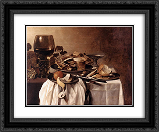 Still Life 24x20 Black or Gold Ornate Framed and Double Matted Art Print by Pieter Claesz