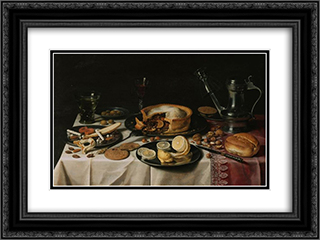 Still Life 1630 24x18 Black or Gold Ornate Framed and Double Matted Art Print by Pieter Claesz