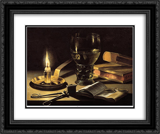 Still life with a burning candle 24x20 Black or Gold Ornate Framed and Double Matted Art Print by Pieter Claesz