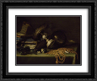 Still Life with a Gold Chain 24x20 Black or Gold Ornate Framed and Double Matted Art Print by Pieter Claesz
