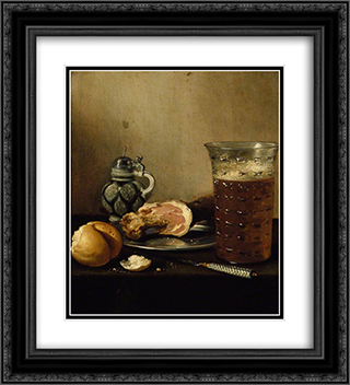 Still Life with a Ham 20x22 Black or Gold Ornate Framed and Double Matted Art Print by Pieter Claesz