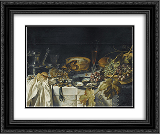 Still Life with a Pie, Basket of Grapes, Pitcher and Watch 24x20 Black or Gold Ornate Framed and Double Matted Art Print by Pieter Claesz