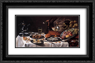 Still Life with a Turkey Pie 24x16 Black or Gold Ornate Framed and Double Matted Art Print by Pieter Claesz